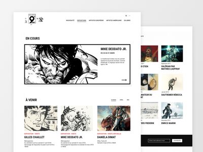 Comic Art Gallery typography cards grid home page comic ux web design art gallery website ui