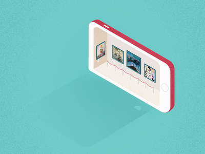 Art gallery in a mobile phone pastel gallery art mobile isometric illustration