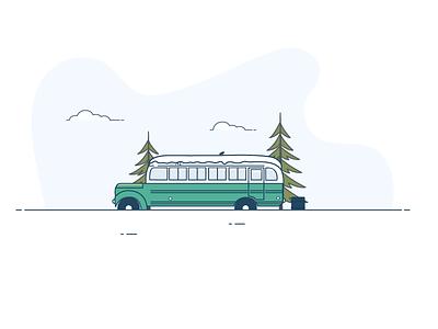 Into the Wild nature adventure motorhome travel into the wild movie bus van pastel flat icon illustration