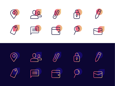 Icon Set gradient icon set icon ui line icon illustration dailyui