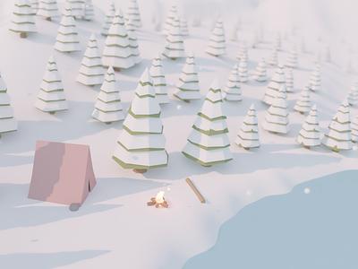 Winter Camping landscape 3d art blender low poly forest tent camping winter illustration