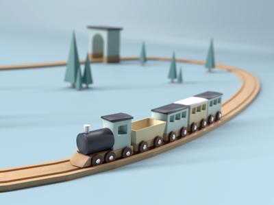 Low Poly Train Toy wood toy train low poly blender3d blender 3d illustration