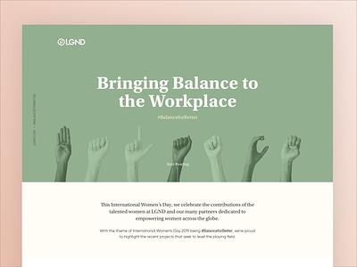 Women's Day - Balance for Better pastel women day website ui