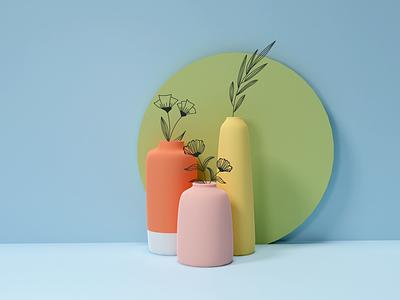 3D with 2D pastel flowers vase blender3dart blender blender3d 3d art 3d illustration