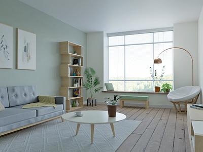 3D Interior room scene illustration interior design room interior 3d art blender3d blender 3d