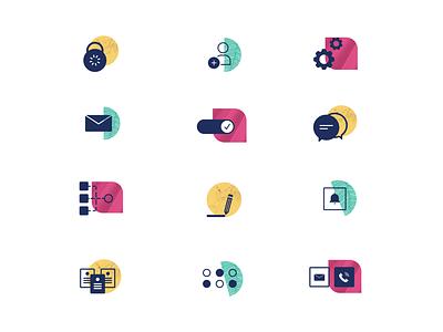 Textured icons set abstract texture ui illustration icon