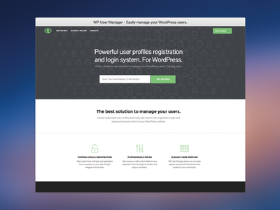 WP User Manager - Landing Page wordpress landing page beta