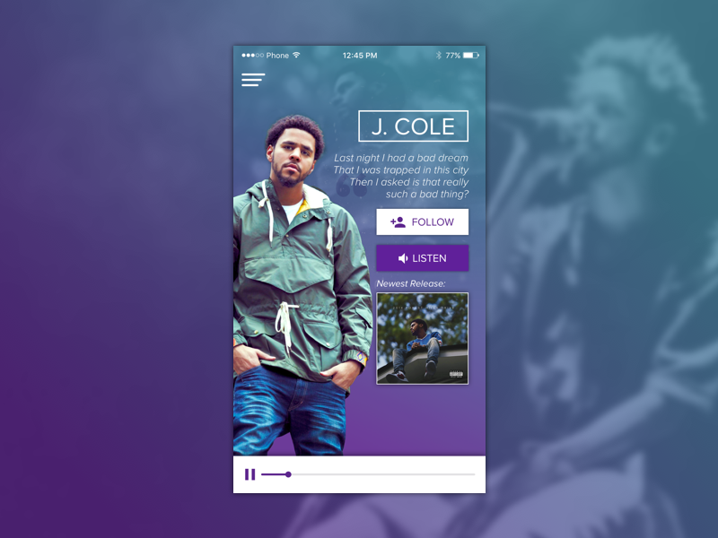 User Profile - Daily UI #006 ui app music j. cole profile user proxima nova dailyui