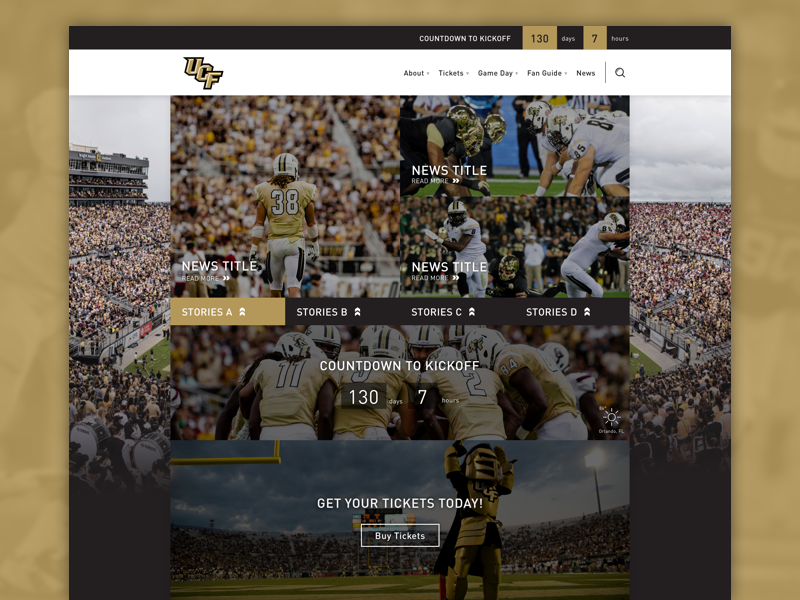 UCF Football Redesign Concept ncaa site redesign football knights ucf