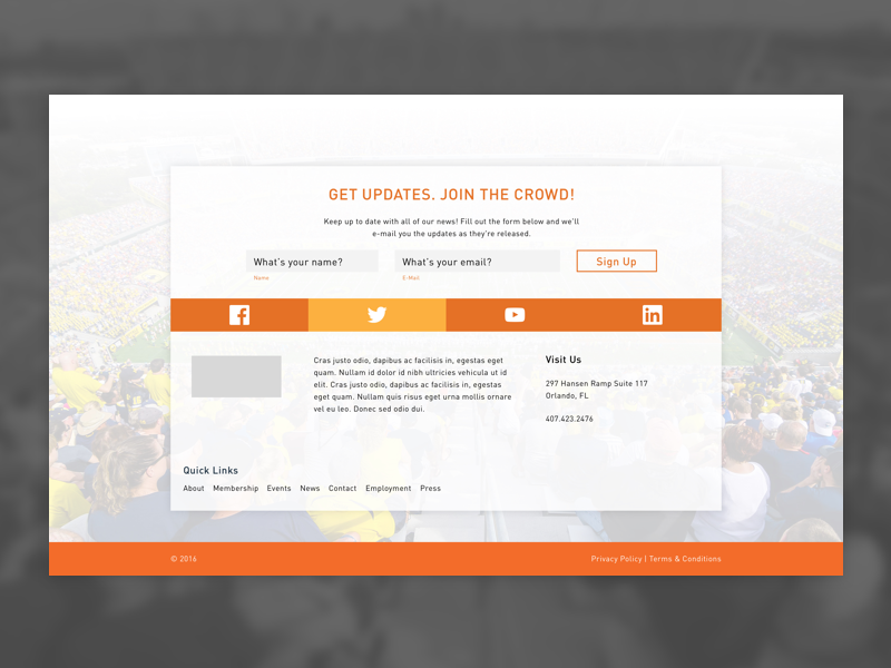 Footer Love boxed layout football web footer
