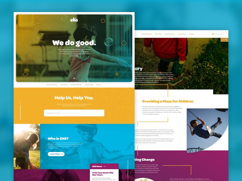 CHS Site Redesign sketchapp florida children nonprofit responsive ui ux web website