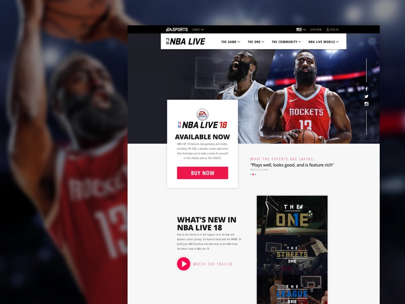 NBA Live 18 Redesign sports layout web design live nba