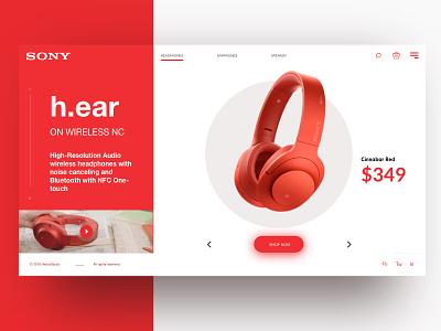 Headphone UI - Serie minimal store celan slide hero ux ui layout headphones grid graphic design sony