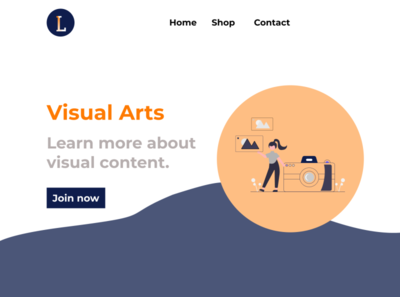 Home Page for Visual Arts Website prototype mockup page design logo illustration design ui web design