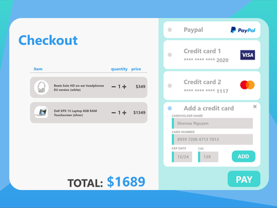 Credit Card Checkout Screen UI design challenge dailyui icons logos user interface ux ui ipad tablet laptop responsive design