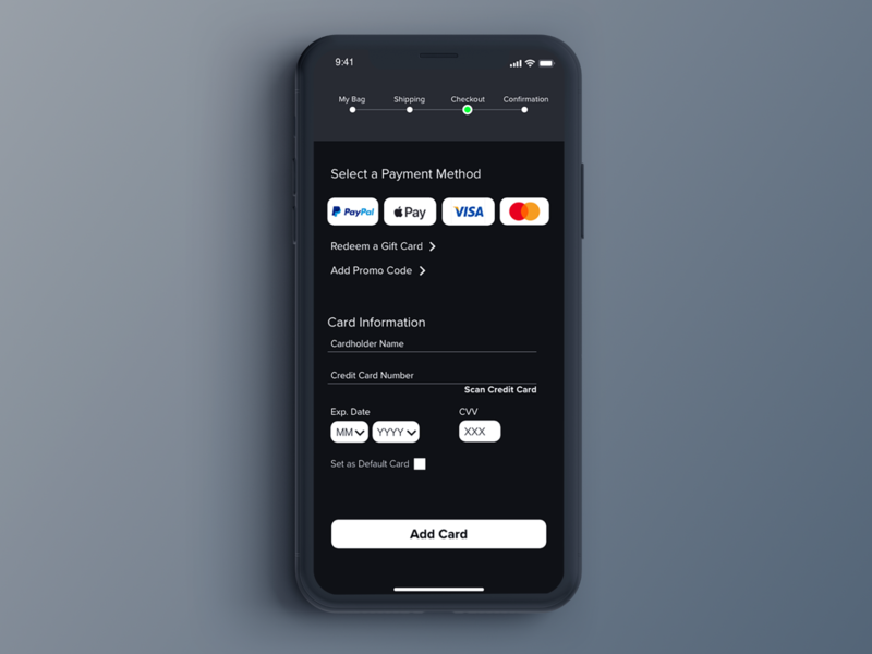 #DailyUI Day 02 - Credit Card Checkout mobile ui app ui ui design creditcard checkout design application ui