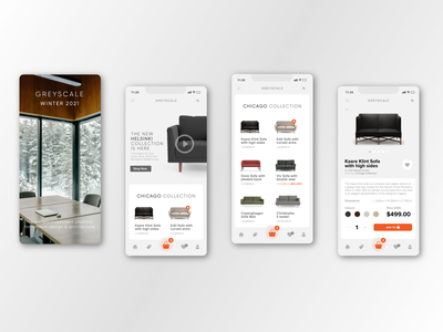 Greyscale Furniture Store App branding ux ui app design mobile ecommerce
