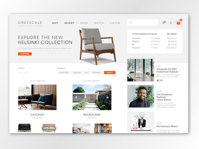 Greyscale Furniture Store Website design ecommerce ux ui branding