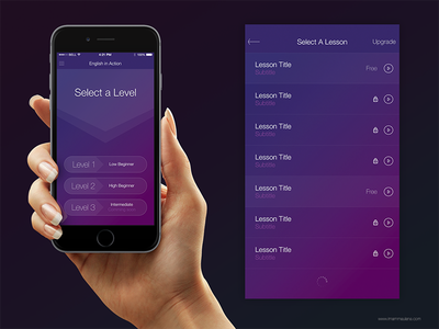 English Lesson App (Other Option Style) mobile interface interface design ui design iphone ios ux ui