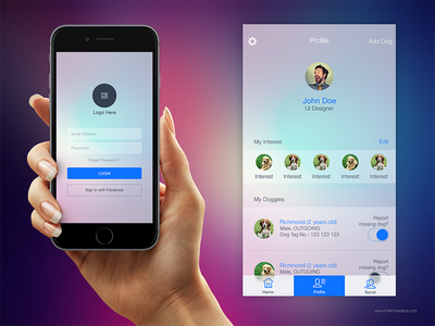 UI Concept for Dog Lovers App mobile interface interface design ui design iphone ios ux ui