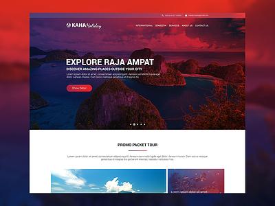 Kaha Holiday travel web photoshop design graphic intarface design ux ui design web design