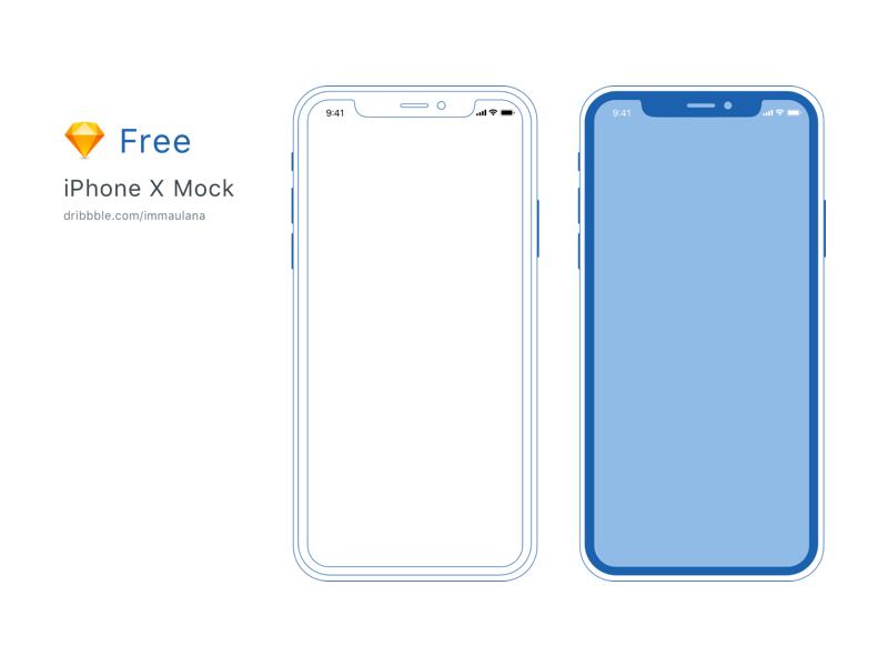 Free Minimal iPhone X Mockup sketch free design line minimal mockup mock product design ui ux
