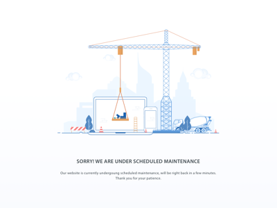 Under Maintenance Page vector visual design user interface under construction under maintenance maintenance page illustration