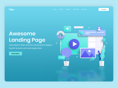 Video landing page clean brand minimal photoshop uiux ui landing page