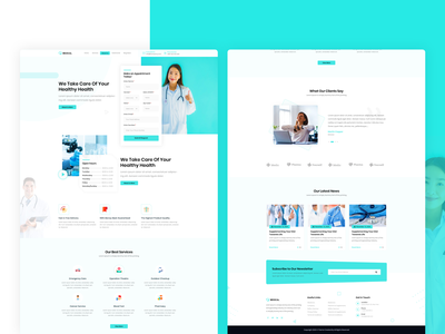 Medical appointment doctor medical insurance modern marketplace landing page branding clean minimal design ux photoshop ui