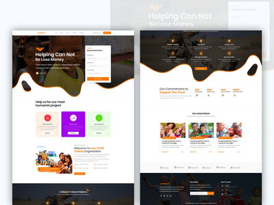 Charity typography one page marketplace landing page clean photoshop minimal design ux ui lose helper help