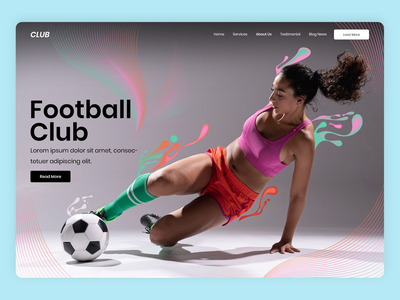Football modern one page typography landing page photoshop minimal clean design ux ui