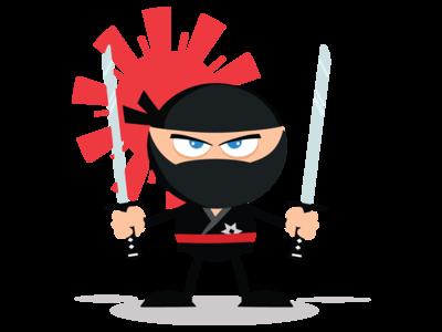 Ninja Warrior Cartoon Mascot Character With Two Katana