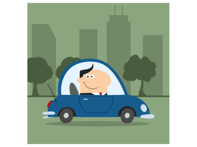 Smiling Manager Driving Car To Work In City