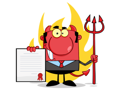 Smiling Devil Boss With A Trident Holds Up A Contract