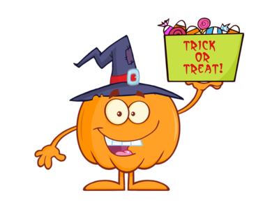 Halloween Pumpkin Holds A Box With Candy
