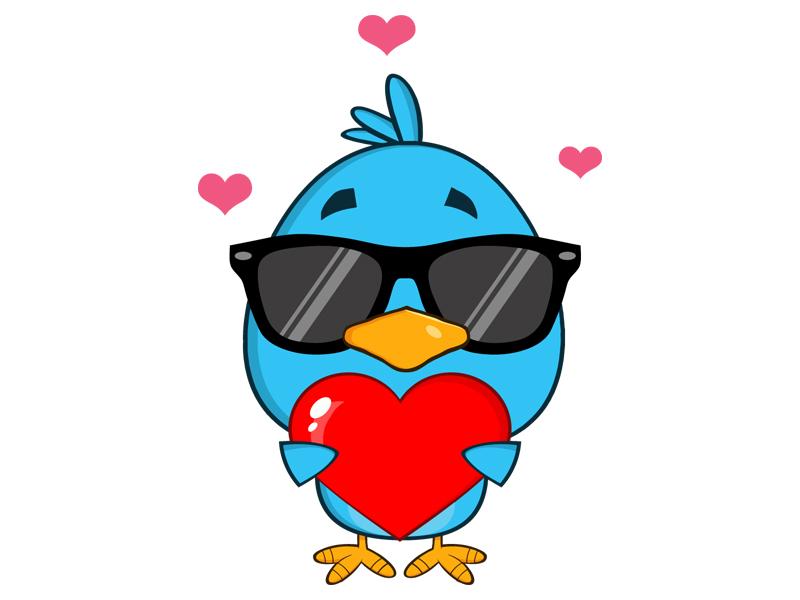 Cute Blue Bird Cartoon Character Holding A Love Heart By