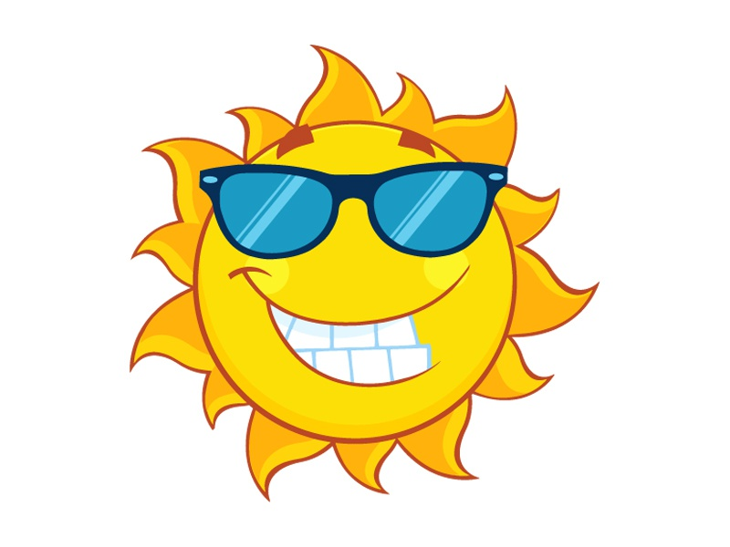 Smiling Cute Sun With Sunglasses by Hit Toon - Dribbble