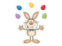 Rabbit Character Juggling With Easter Eggs
