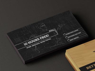 Workshop Card Coffee side cafe business card illustration
