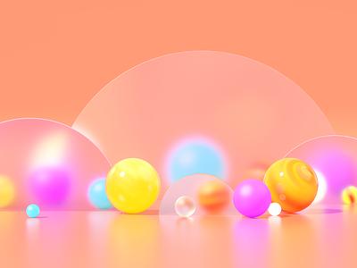 Concept Illustration redshift 3d ilustration 3d art abstract creative clean light glass sweet purple sphere colourful illustration c4d render 3d design