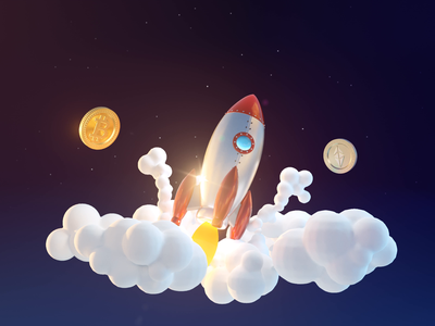 Crypto Outerspace outerspace ethereum bitcoin web clouds fly rocket stars crypto loop 3d animation illustration c4d 3d ae render aftereffects motion design animation