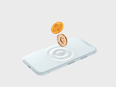 Exchange Crypto 3d animation web design ui design money mobile gold currency exchange bitcoin crypto euro iphone app 3dart ui illustration c4d 3d render design