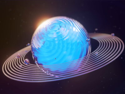 Blue Glassy Planet vivid motion digital visual design web octane redshift c4d glassy space blue planet ui illustration 3d ae render aftereffects motion animation design