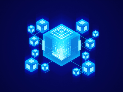 Decentralized Aggregated Oracle - 3D illustration isometric blue vividmotion 3danimation visual web glow redshift c4d ai oracle ui illustration 3d ae render aftereffects motion animation design
