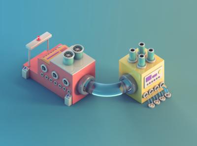 Machines In Miniature render 3d art miniature isometric lowpoly illustration c4d 3d