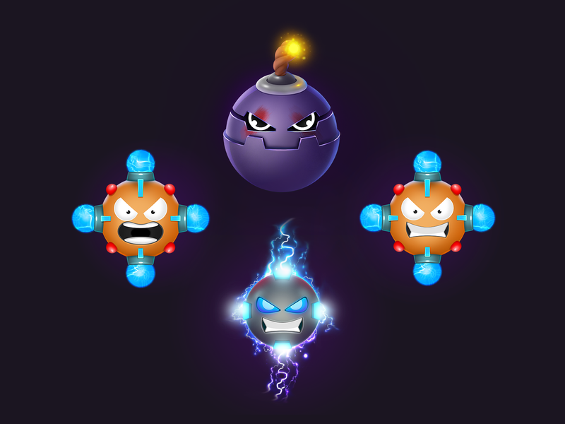 Game combo boosters - Bomber and Electro puzzle match-3 ios icon game art game electro element characterdesign character booster bomb