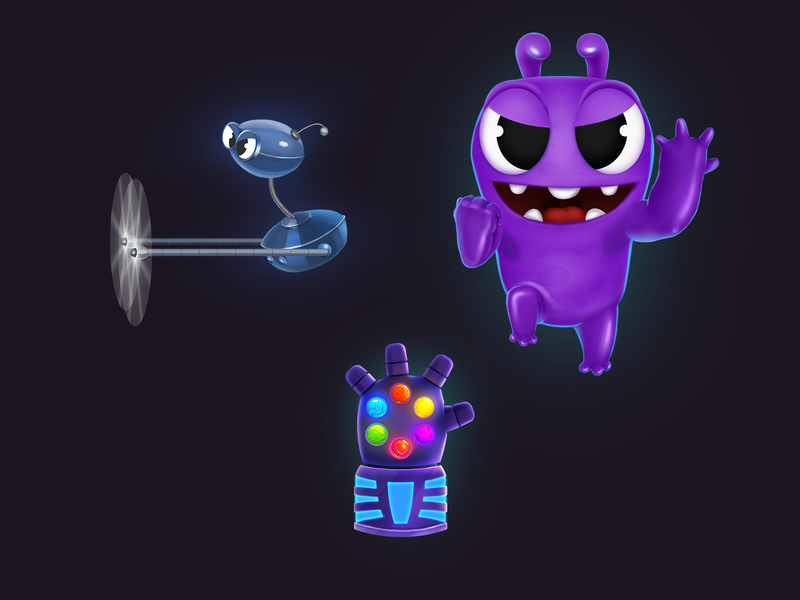 Main characters and the greatest booster icon match 3 chracter ios app game design 2d art puzzle booster game 2d