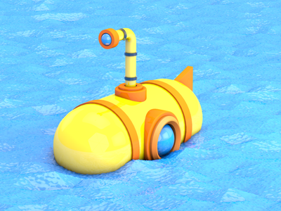 Submarine maxon3d 3d art ocean sea cartoon yellow submarine render maxon adobe cinema 4d 3d