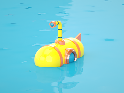 Submarine, updated render. c4d otoy render 3d art illustration maxon cinema 4d octane 3d