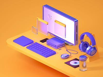 Desktop 3d art art dribbble illustration render otoyoctane otoy maxonc4d maxon3d maxon 3d branding design concept octane c4d rende